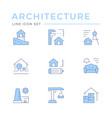 set color line icons architectural vector image vector image