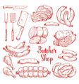 sketch icons of butchery meat products vector image vector image