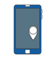 smartphone device with gps pin vector image vector image