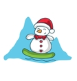 Snowman surfing character Christmas theme vector image vector image