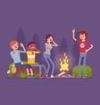 spooky story near campfire vector image