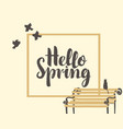 spring banner with inscription and bench with cat vector image