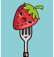 strawberry fruit character kawaii style vector image