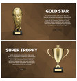 super trophy and gold star web banners vector image vector image