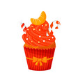 sweet christmas cupcake with cane and tangerine vector image vector image