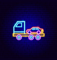 tow truck neon sign vector image