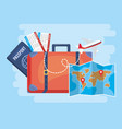 travel baggage with global map and passport vector image vector image