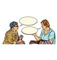 two older ladies talking vector image