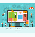 web and mobile application development concept vector image vector image