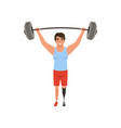 young man with artificial leg holding barbell over vector image