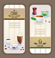 coffee and tea collection labels vector image