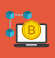 laptop computer technology bitcoin currency vector image