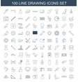 100 drawing icons vector image vector image