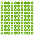 100 war icons hexagon green vector image vector image