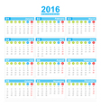 2016 Calendar week start monday vector image vector image