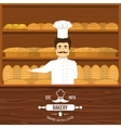 Baker Behind Counter Design vector image vector image