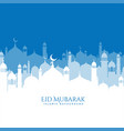 beautiful mosque scene eid mubarak background vector image vector image