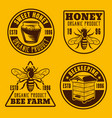 beekeeping and honey four emblems vector image
