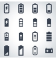 black battery icon set vector image vector image