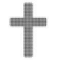 black pixel religious cross icon vector image vector image