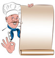blank menu with the image of a smiling chef vector image vector image
