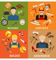 Builder carpenter mechanic and shoemaker vector image