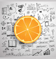 business doodle concept with fresh orange and vector image vector image