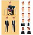 businessman working in the office with set poses vector image