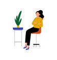 businesswoman sitting in chair with folded hands vector image vector image