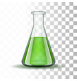 Chemical laboratory transparent flask with green vector image