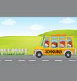 children ride school bus vector image