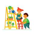 children watering plants - colorful flat design vector image