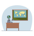 classroom with desk with books and chalkboard with vector image