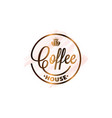 coffee cup watercolor logo on white background vector image vector image