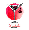color blue cherry alcohol cocktail drink vector image vector image