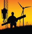 construction worker builds windmills vector image vector image