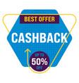 creative cashback banner on white background 02 vector image