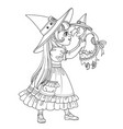 cute girl in witch costume holding a doll old vector image vector image