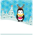 Cute penguin with gift box vector image