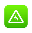 deer traffic warning sign icon digital green vector image