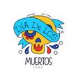 dia de los muertos logo traditional mexican day vector image