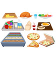 different types of food on whtie background vector image vector image