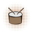 Drum and drumsticks comics icon vector image