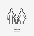 family flat line icon outline vector image vector image