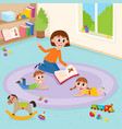 flat boy girl and teacher lying at carpet vector image vector image