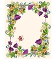 floral card hand drawn retro flowers and leaves vector image vector image