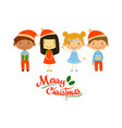 four little children in holiday costumes merry vector image