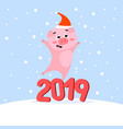 funny christmas pig on winter background vector image vector image