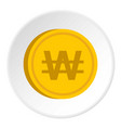 gold coin with won sign icon circle vector image vector image