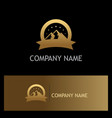 Gold mountain label logo vector image
